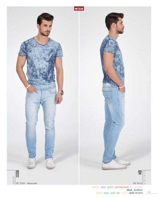 V Yaka Yıkamalı T-shirt