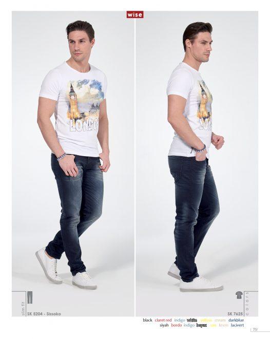 London Baskılı Likralı T-shirt