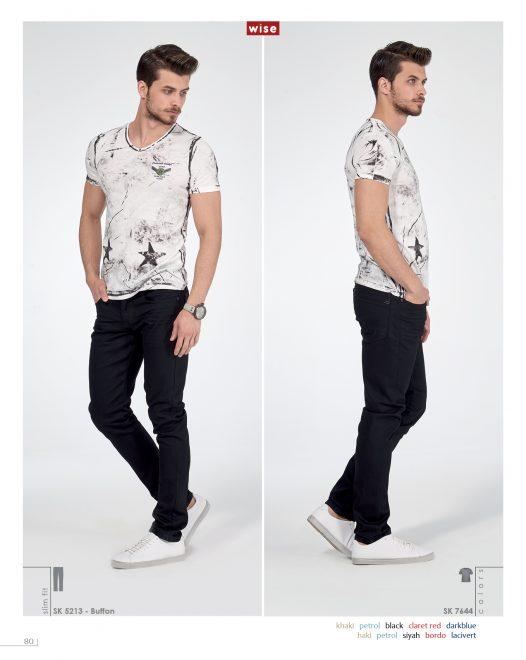 Armalı V-yaka T-shirt